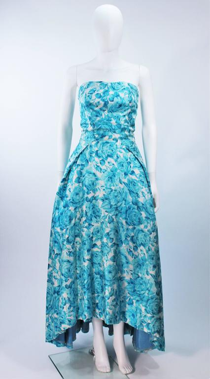 1950's Aqua Floral Watercolor Gown with Hi-Lo Skirt Size 2-4 2
