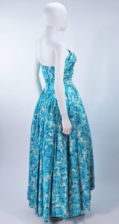 1950's Aqua Floral Watercolor Gown with Hi-Lo Skirt Size 2-4 7