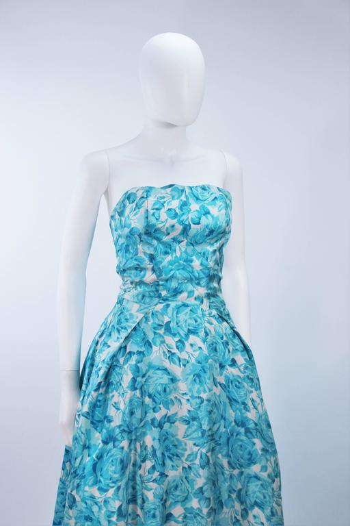 1950's Aqua Floral Watercolor Gown with Hi-Lo Skirt Size 2-4 5