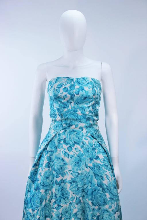 1950's Aqua Floral Watercolor Gown with Hi-Lo Skirt Size 2-4 3