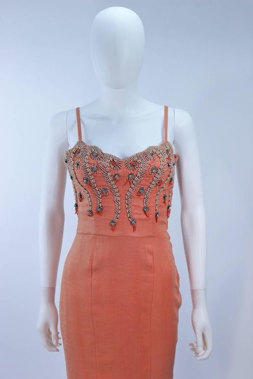 5e6ad37da6 1960 s Coral Embellished Cocktail Dress Size 2-4 For Sale at 1stdibs
