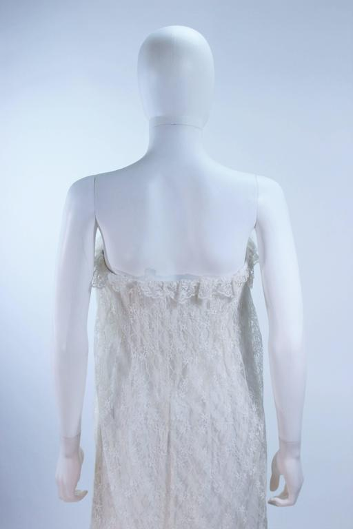 BILL BLASS White Lace Strapless Dress Size 6 8