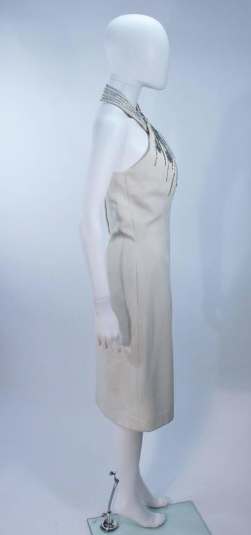 SYDNEY NORTH White Rhinestone Embellished Asymmetrical Cocktail Dress Size 6-8  For Sale 1