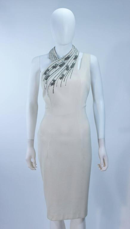 Gray SYDNEY NORTH White Rhinestone Embellished Asymmetrical Cocktail Dress Size 6-8  For Sale