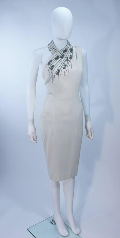 Women's SYDNEY NORTH White Rhinestone Embellished Asymmetrical Cocktail Dress Size 6-8  For Sale