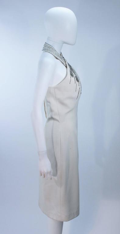 SYDNEY NORTH White Rhinestone Embellished Asymmetrical Cocktail Dress Size 6-8  For Sale 2