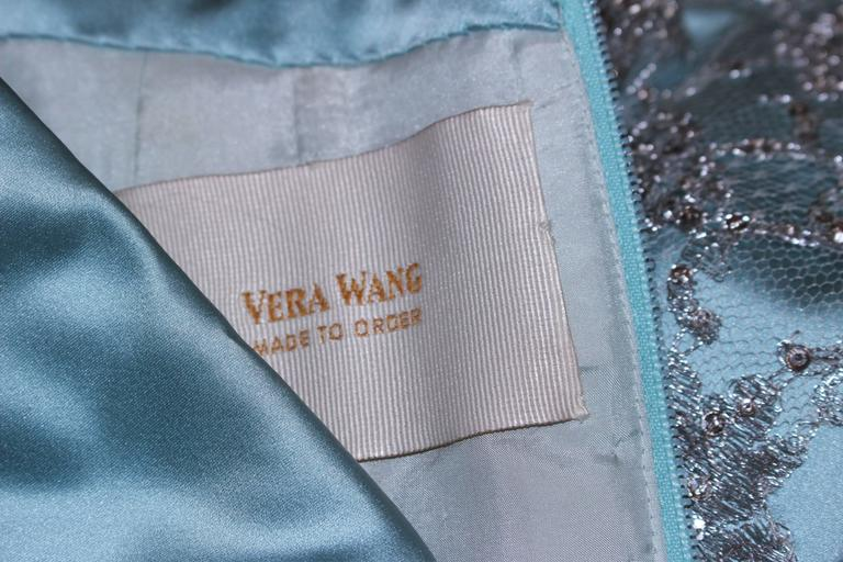 VERA WANG 'Made to Order' Silk Blue Cocktail Dress with Lace Trim Size 6-8 10