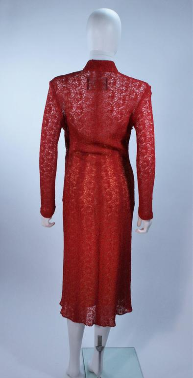 MONIQUE LHUILLIER Asian Inspired Deep Coral Knit lace Cocktail Dress Size 8 For Sale 3
