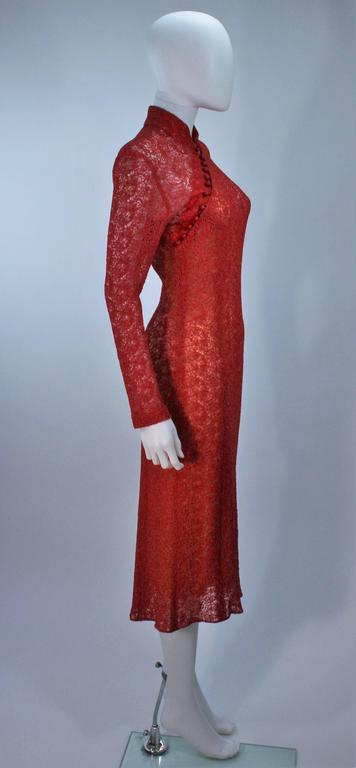 MONIQUE LHUILLIER Asian Inspired Deep Coral Knit lace Cocktail Dress Size 8 For Sale 2