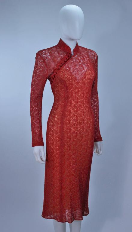 MONIQUE LHUILLIER Asian Inspired Deep Coral Knit lace Cocktail Dress Size 8 For Sale 1
