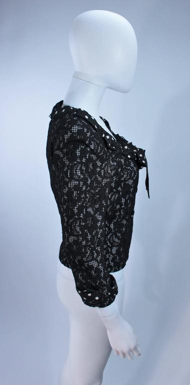 MOSCHINO Black and White Lace Jacket with Polka Dot Silk Size 8 For Sale 1