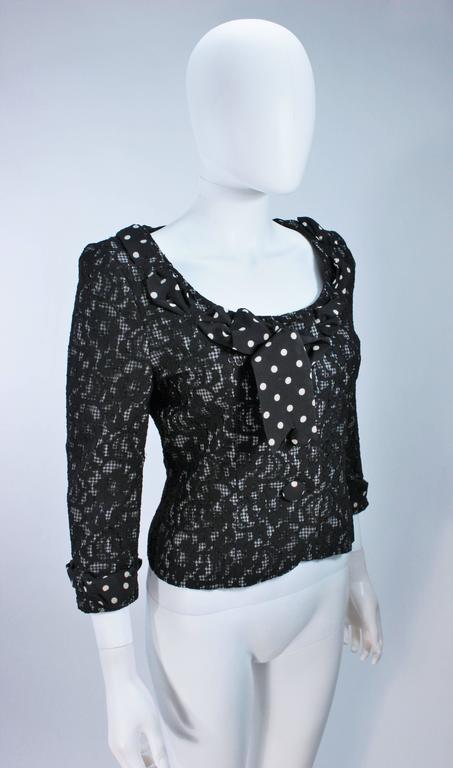 Women's MOSCHINO Black and White Lace Jacket with Polka Dot Silk Size 8 For Sale