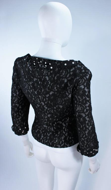 MOSCHINO Black and White Lace Jacket with Polka Dot Silk Size 8 For Sale 2