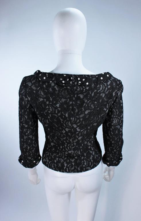 MOSCHINO Black and White Lace Jacket with Polka Dot Silk Size 8 For Sale 3