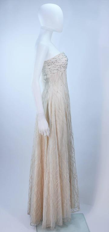 Gray VICTOR COSTA Off White Iridescent Strapless Beaded Gown Size 2 4 For Sale