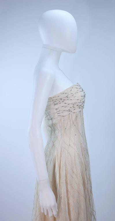 VICTOR COSTA Off White Iridescent Strapless Beaded Gown Size 2 4 For Sale 4