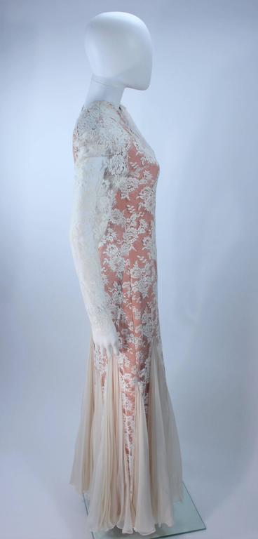 Women's TRAVILLA Lace Gown with Nude Underlay Size 4 6 For Sale