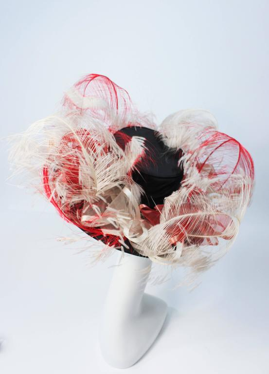 VINTAGE SAKS FIFTH AVE Black Hat with White and Red Feathers  4