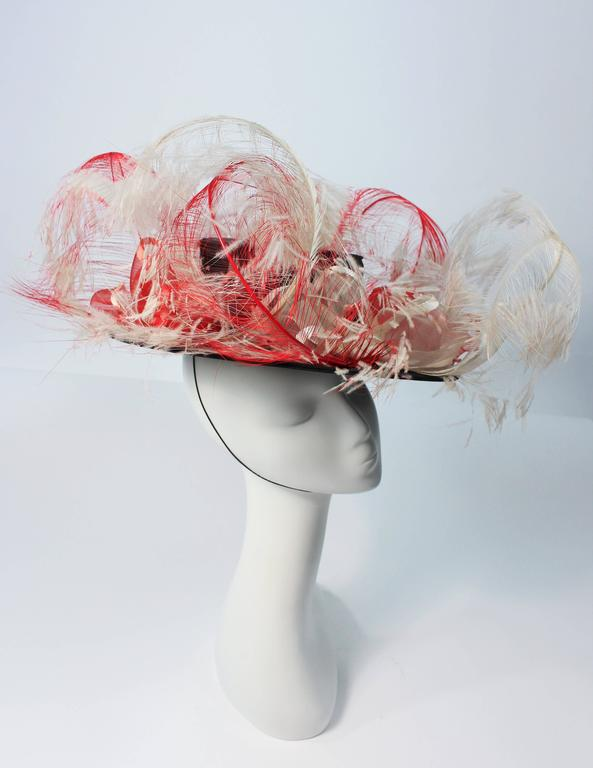 VINTAGE SAKS FIFTH AVE Black Hat with White and Red Feathers  6
