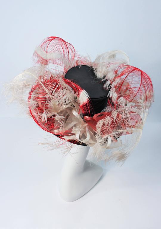 VINTAGE SAKS FIFTH AVE Black Hat with White and Red Feathers  8