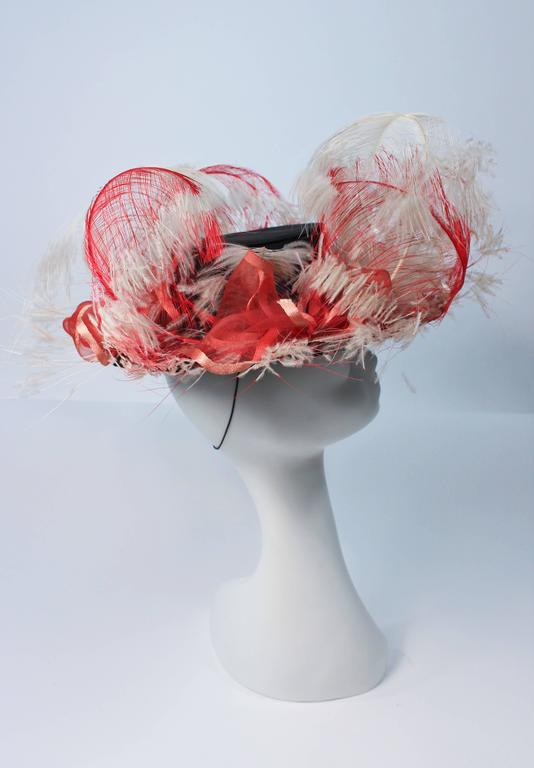 VINTAGE SAKS FIFTH AVE Black Hat with White and Red Feathers  7