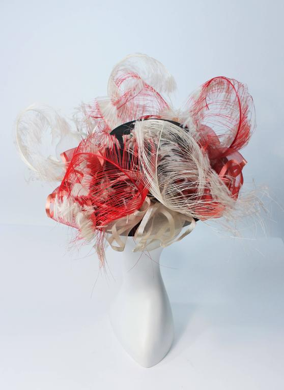 VINTAGE SAKS FIFTH AVE Black Hat with White and Red Feathers  9