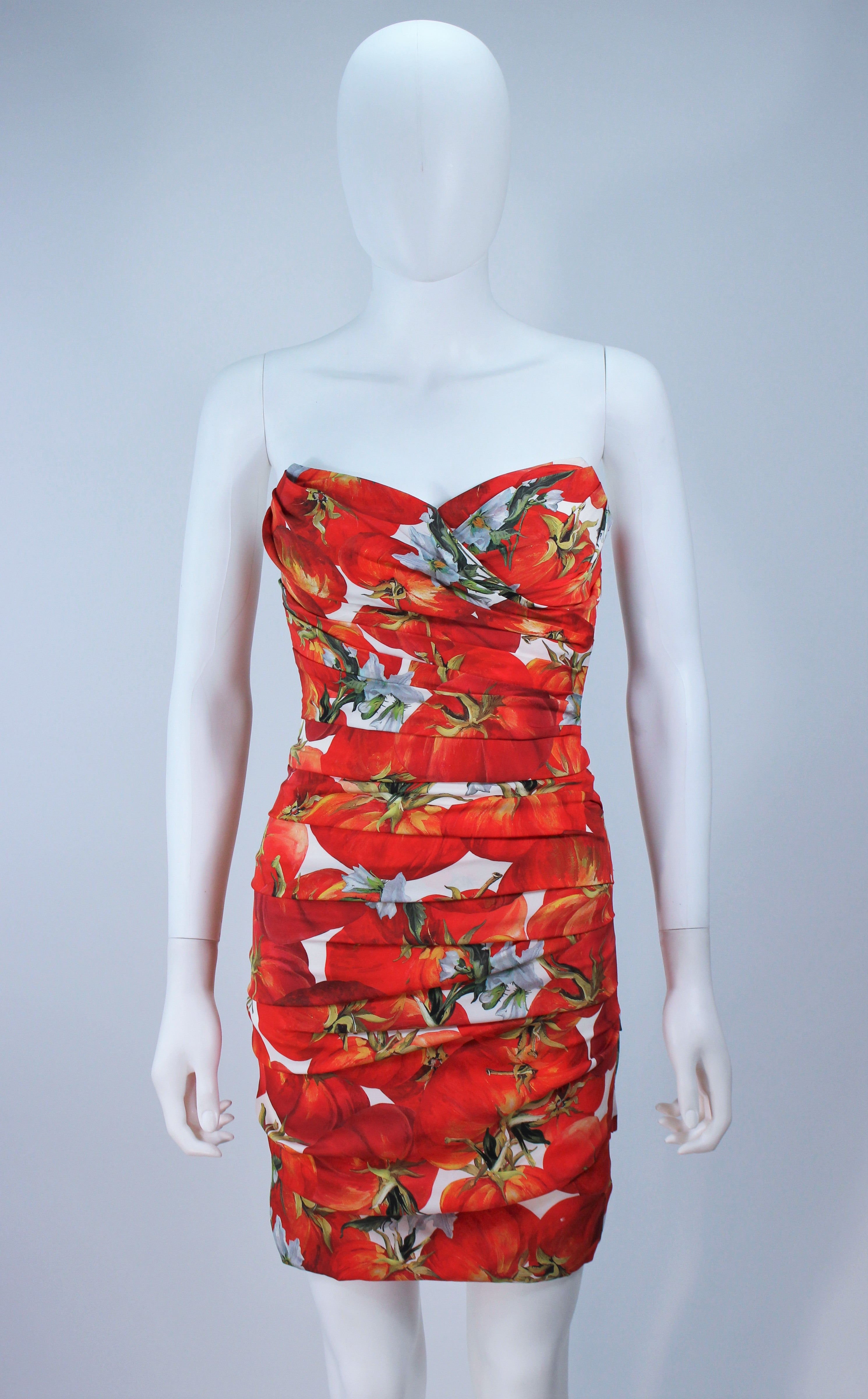d0a21149e24 DOLCE AND GABBANA Ruched Stretch Silk Fruit Print Dress Size 38 For Sale at  1stdibs