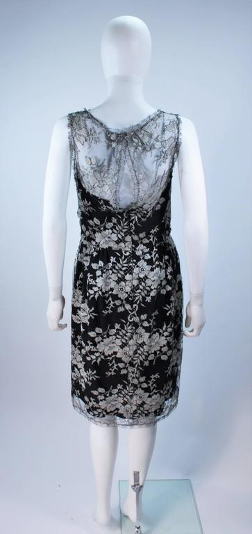 MONIQUE LHUILLER Black and Silver Lace Cocktail Dress Size 10 For Sale 4