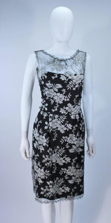 MONIQUE LHUILLER Black and Silver Lace Cocktail Dress Size 10 For Sale 1