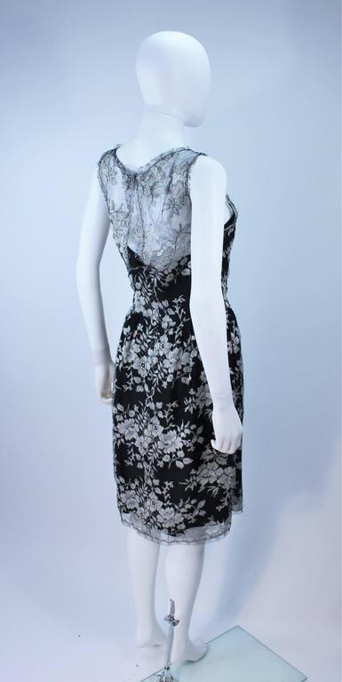 MONIQUE LHUILLER Black and Silver Lace Cocktail Dress Size 10 For Sale 3