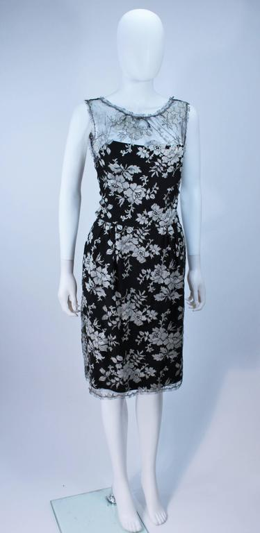Women's MONIQUE LHUILLER Black and Silver Lace Cocktail Dress Size 10 For Sale