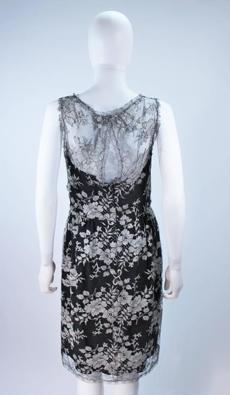 MONIQUE LHUILLER Black and Silver Lace Cocktail Dress Size 10 For Sale 5