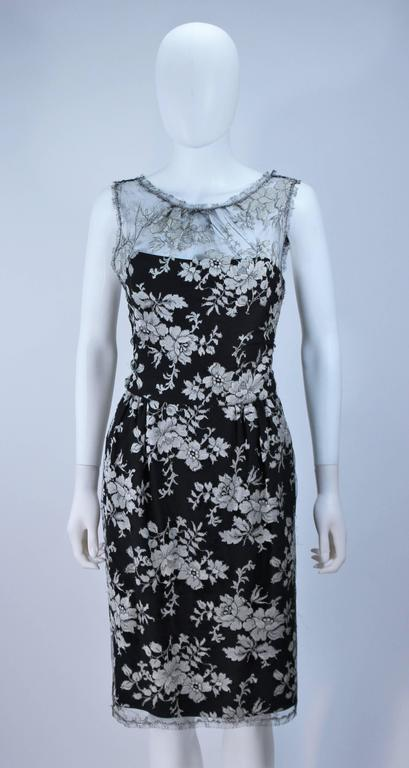 MONIQUE LHUILLER Black and Silver Lace Cocktail Dress Size 10 In Excellent Condition For Sale In Los Angeles, CA