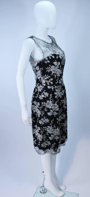 MONIQUE LHUILLER Black and Silver Lace Cocktail Dress Size 10 For Sale 2