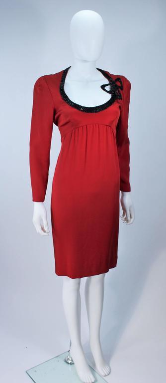 BOB MACKIE Burnished Red Silk Dress with Black Beaded Bow Neckline Size 8 4