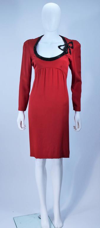 BOB MACKIE Burnished Red Silk Dress with Black Beaded Bow Neckline Size 8 2