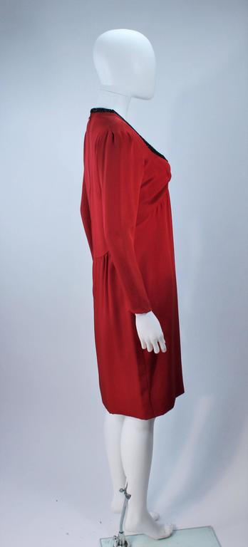 BOB MACKIE Burnished Red Silk Dress with Black Beaded Bow Neckline Size 8 6