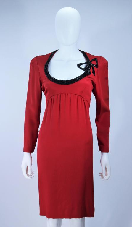 BOB MACKIE Burnished Red Silk Dress with Black Beaded Bow Neckline Size 8 3