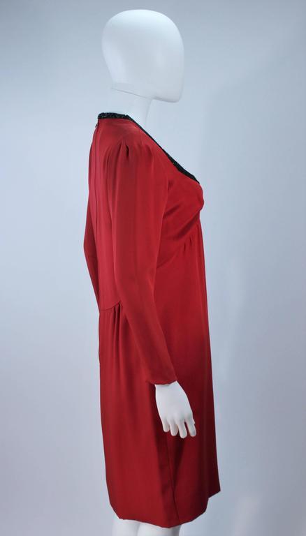 BOB MACKIE Burnished Red Silk Dress with Black Beaded Bow Neckline Size 8 7