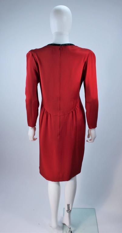 BOB MACKIE Burnished Red Silk Dress with Black Beaded Bow Neckline Size 8 9