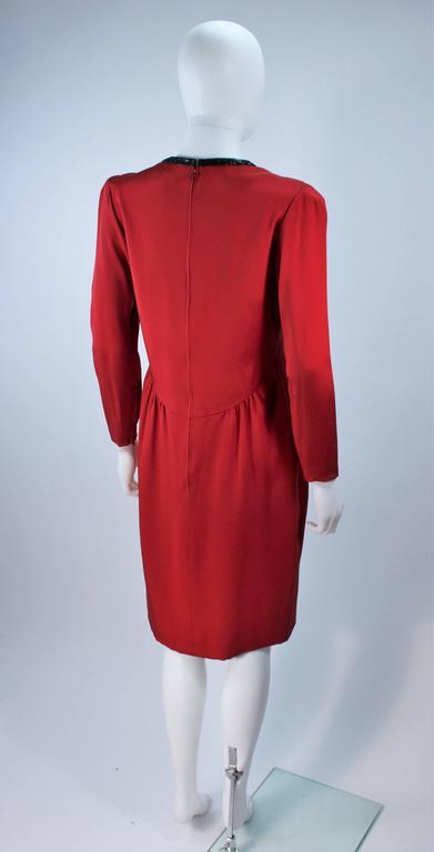 BOB MACKIE Burnished Red Silk Dress with Black Beaded Bow Neckline Size 8 8