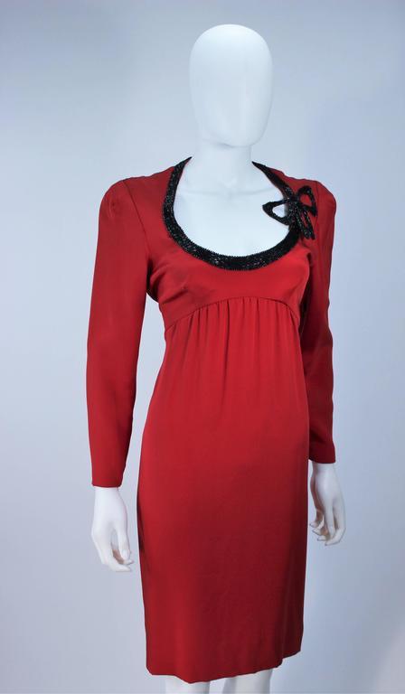 BOB MACKIE Burnished Red Silk Dress with Black Beaded Bow Neckline Size 8 5