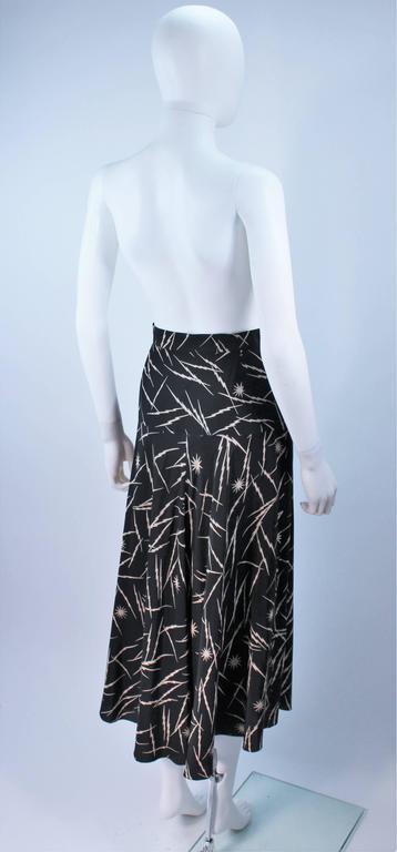 KRIZIA Electrified Black Silk Print Draped Wrap Skirt Size 2 4 For Sale 4