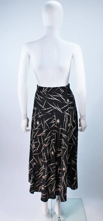 KRIZIA Electrified Black Silk Print Draped Wrap Skirt Size 2 4 For Sale 5