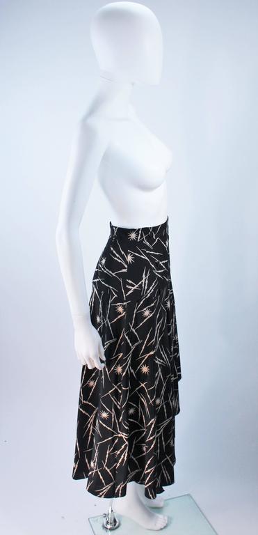 KRIZIA Electrified Black Silk Print Draped Wrap Skirt Size 2 4 For Sale 3