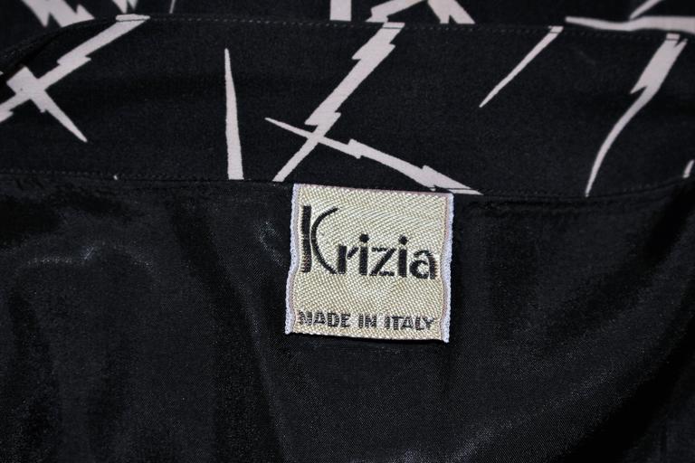 KRIZIA Electrified Black Silk Print Draped Wrap Skirt Size 2 4 For Sale 6