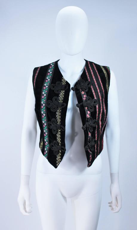 Black DOLCE & GABBANA Velvet Vest with Trim Size Small For Sale