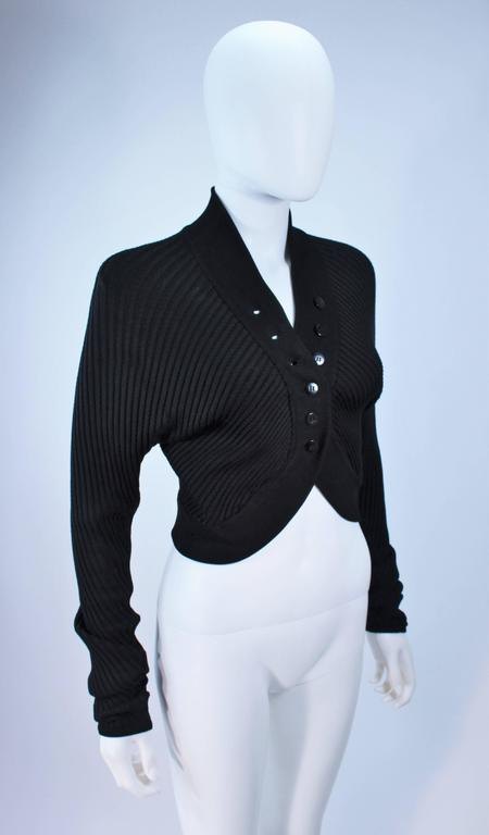 ALAIA Black Stretch Cropped Sweater Size S For Sale 1