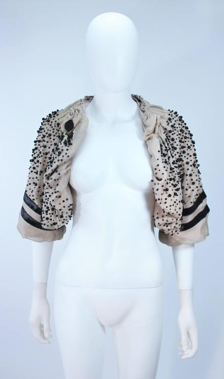 MONCLER Nude Mesh Gathered Bolero with Beaded Applique Size S  For Sale 4