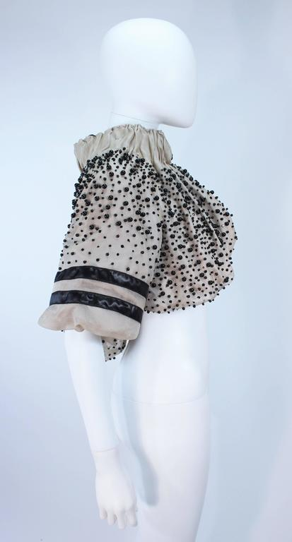 Women's MONCLER Nude Mesh Gathered Bolero with Beaded Applique Size S  For Sale
